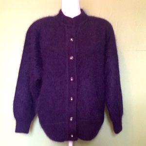 BELDINI purple angora cardigan sweater